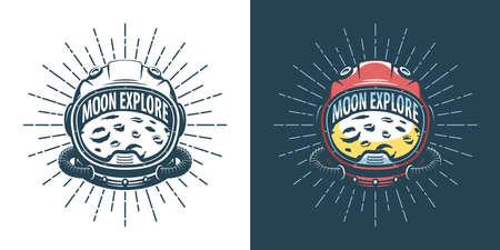 Astronaut helmet and moon - vintage illustration