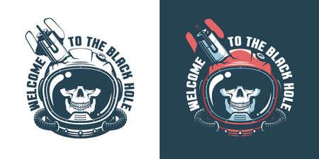 Skull in astronaut helmet with stumbled space rocket