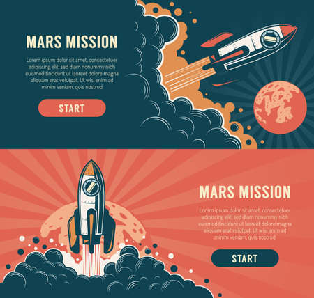 Rocket launch startup flyer - vintage style. Spaceship start mission mars retro poster. Vector illustration. Stock Vector - 138717711