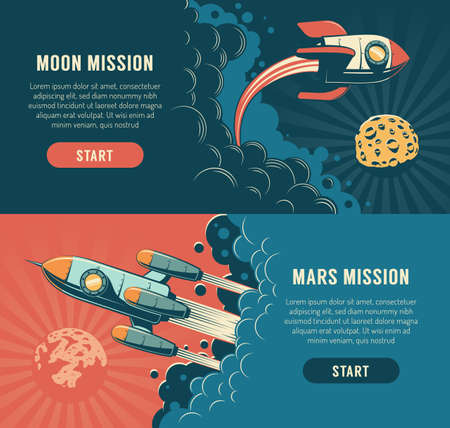 Rocket launch to the moon - space flyer in retro style Illustration