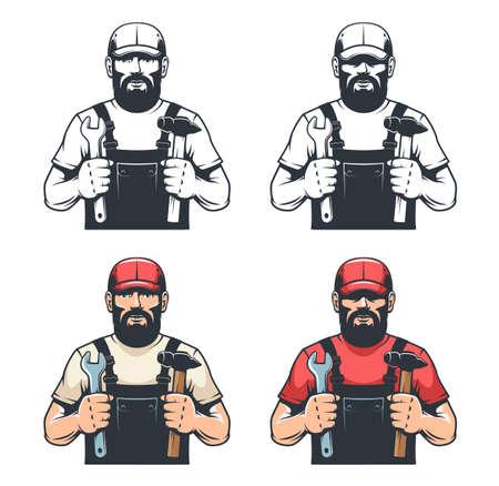 Repair man mechanic holds hammer and wrench - retro illustration