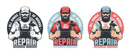 Repair man worker vintage. Mechanic workshop retro emblem. DIY man in old school badge. Vector illustration. Stock Vector - 140895901