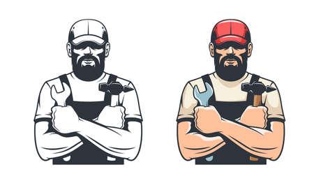 Handy man with hammer and wrench Illusztráció