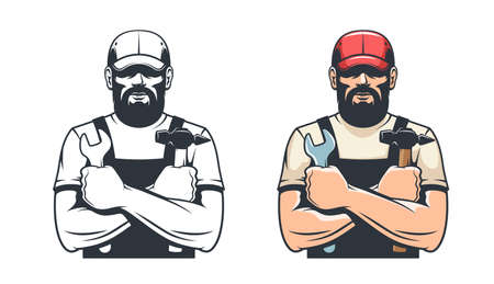 Handy man with hammer and wrench Illustration