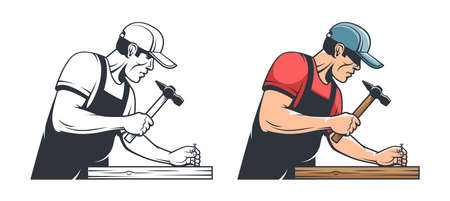 Repairman carpenter hammering a nail - retro illustration Stock Vector - 141048383