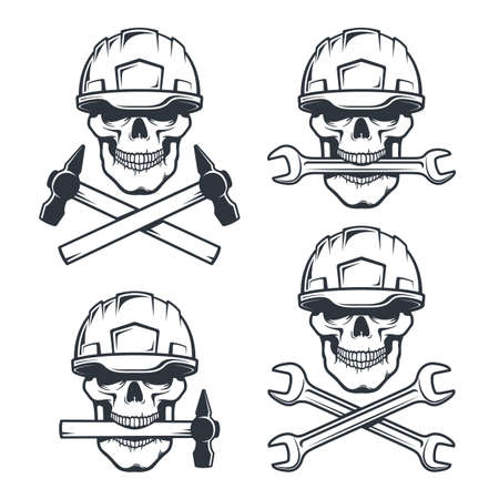 Skull mechanic in hard hat with wrench Stock Vector - 141352177