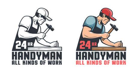 Handyman retro logo. Worker hammering nail - repair service vintage emblem