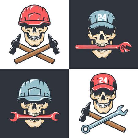 Mechanic Repair service vintage logo - skull with tools Illustration