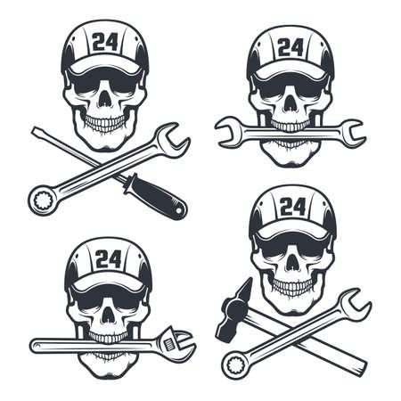 Mechanic Skull in cap with spanner and hammer - retro logo Stock Vector - 141531781