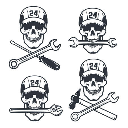 Mechanic Skull in cap with spanner and hammer - retro logo