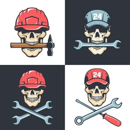 Skull Mechanic Repairman with tools - retro logo