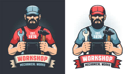 Repair workshop retro logo with handyman and tools Illustration