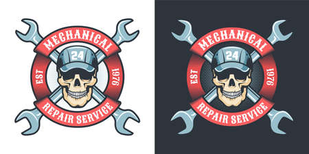 Skull mechanic with wrench and ribbon - vintage logo Stock Vector - 141531784