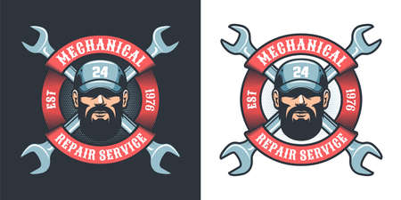 Auto Mechanic with wrench and ribbon - retro logo