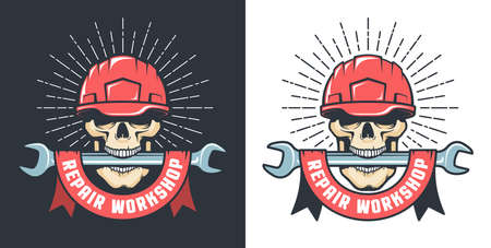 Repair workshop retro logo with skull in hardhat and wrench