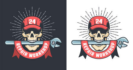 Mechanical Repair workshop wintage logo with skull in cap and big spanner Illustration
