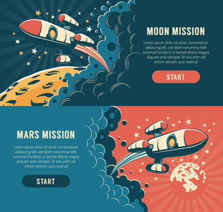 Rocket fly around moon - vintage poster