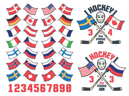 Hockey match score logo with national flag Stock Vector - 141531789