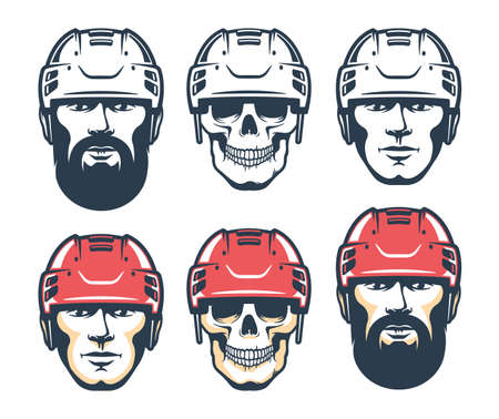 Hockey player head with beard. Skull Sport retro illustration Illustration
