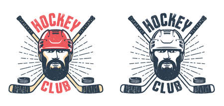 Hockey player with beard and crossed sticks - vintage sport emblem Stock Vector - 141531875