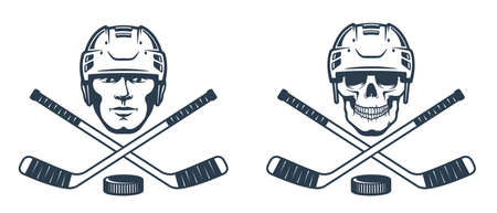 Hockey skull logo with crossed sticks