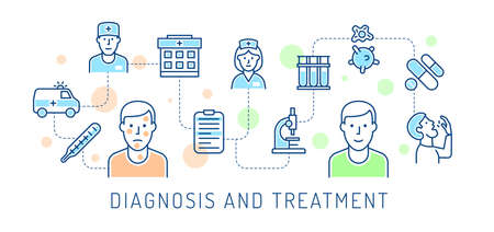 Medical diagnosis and treatment icon concept Illustration