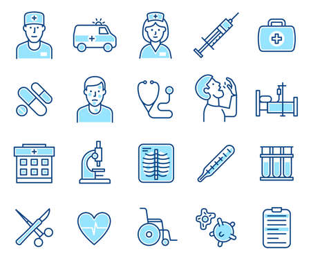 Medical icons for doctors and patients - modern line style