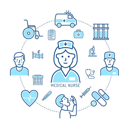 Nurse and medicine - concept of linear icons. Healthcare and doctor infographics. Vector illustration.