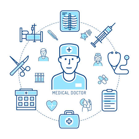 Doctor and medicine - concept of linear icons. Healthcare infographic. Vector illustration.