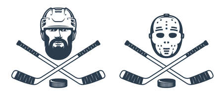 Hockey goalie mask logo with crossed sticks