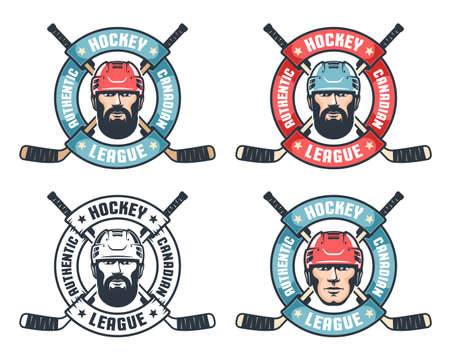 Hockey vintage logo with bearded player, crossed sticks and round ribbon  イラスト・ベクター素材