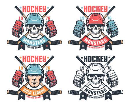 Hockey skull vintage logo with crossed sticks and ribbon
