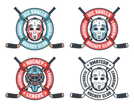 Hockey retro logo with goalie mask, crossed sticks and round ribbon