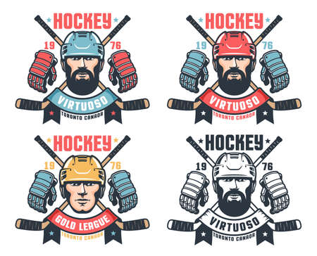 Hockey vintage logo with bearded player, crossed sticks and ribbon  イラスト・ベクター素材