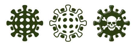 Coronavirus icon with skull and bones.