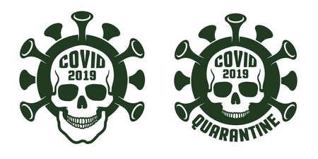 Coronavirus quarantine - skull icon in print style Ilustração