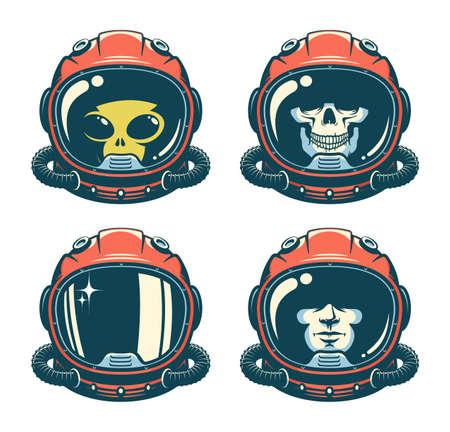 Astronaut helmet with skull - retro style