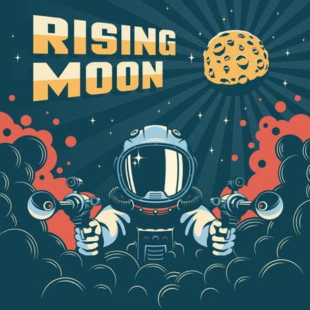 Astronaut fantastic retro space poster
