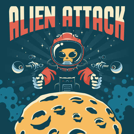 Alien astronaut attack with laser guns