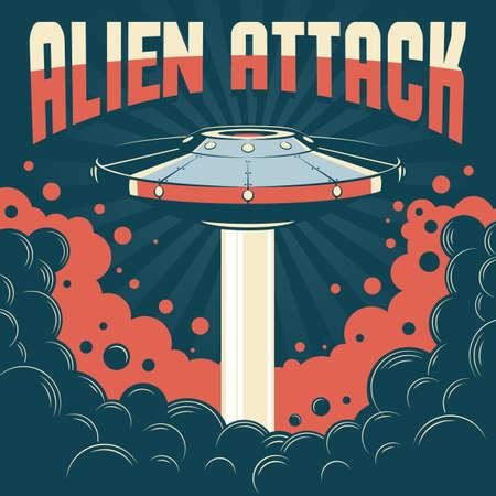 Flying saucer vintage poster