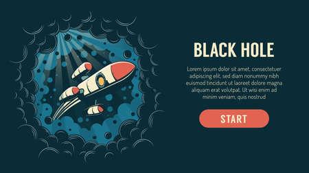 Rocket flies through a black hole in space Vettoriali