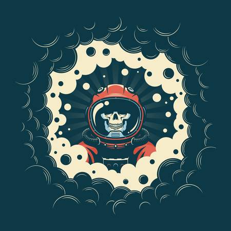 Astronaut skull in spacesuit in a black hole
