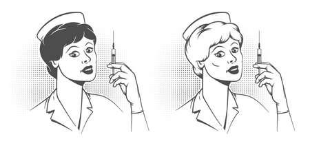 Nurse with syringe in his hand - pop art retro poster