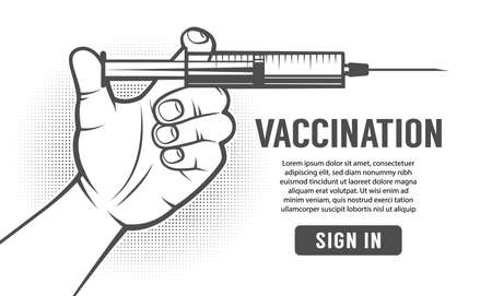 Hand with syringe - retro poster