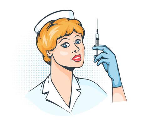 Nurse with syringe in hand - pop art retro illustration