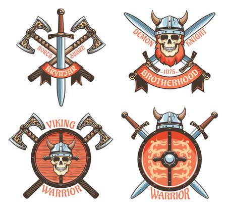 Scandinavian Viking knight vintage logo.