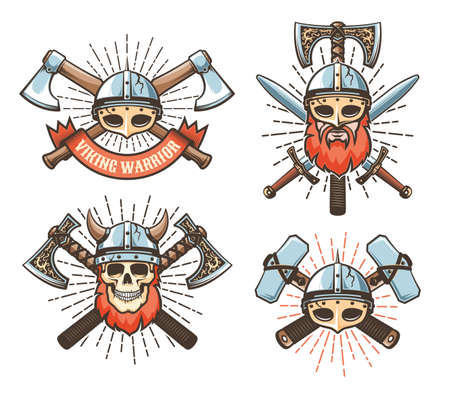 Viking warrior vintage logo