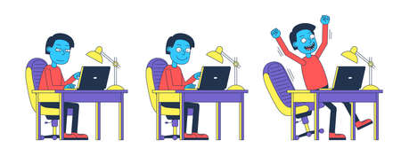 Man works at computer sitting at table - cartoon character. Office Worker at the laptop is emotionally happy. Vector illustration.