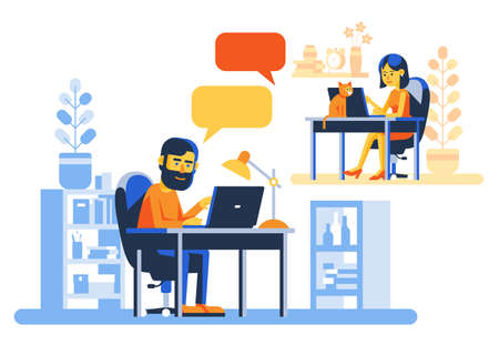 People with laptops chatting on the internet Illustration