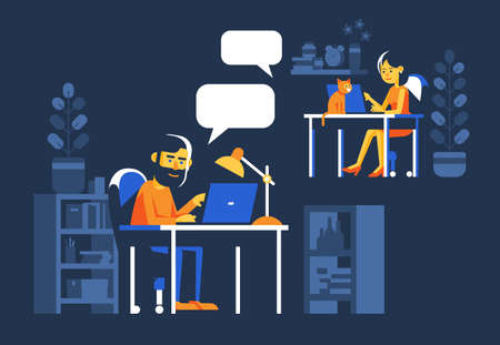 Man and woman chatting online at night. People with laptops working on the internet. Vector illustration. Illustration